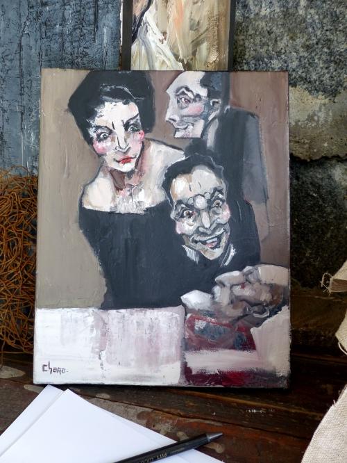 catherine haro, peinture, peinture à l'huile, portrait, caricature, héritiers,