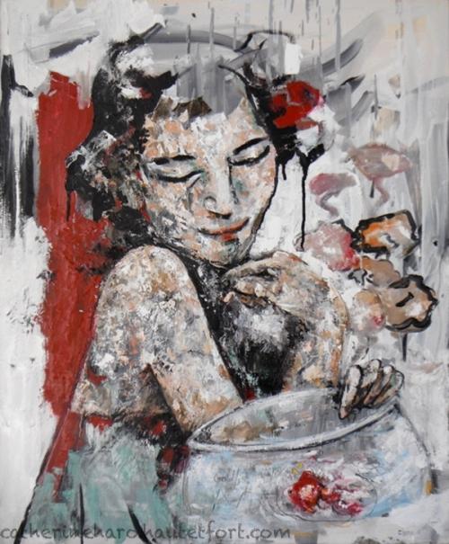 catherine haro,peinture au couteau,poisson rouge,art,peinture à l'huile,saint etienne
