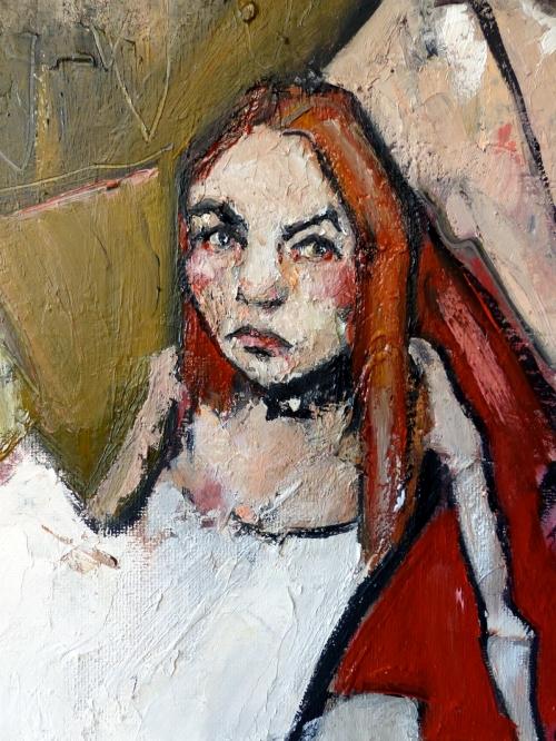 Catherine Haro, peinture à l'huile, huile sur carton toilé, portrait