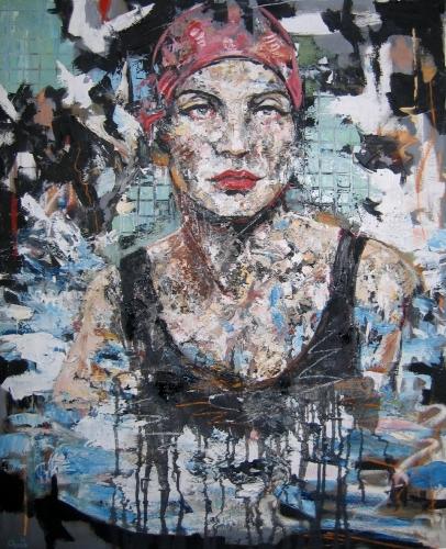 portrait,baigneuse,piscine,huile,couteau