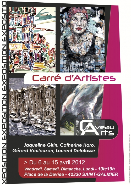 catherine haro, jacqueline girin, laurent delafosse, voulouzan, caveau des arts, saint galmier, exposition collective, peinture, avril 2012