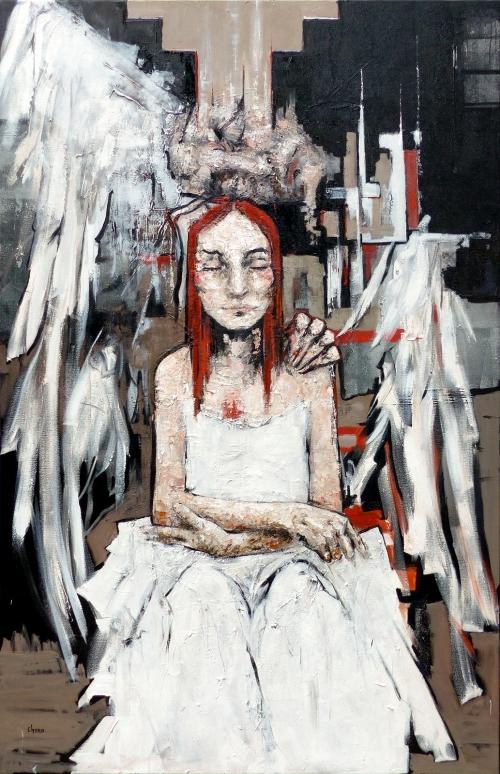 Catherine Haro, huile sur toile, apaisement, ange, portrait, deuil,peinture à l'huile, peinture au couteau