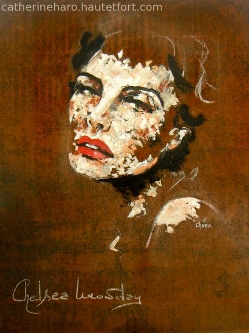 portrait,tôle rouillée,peinture au couteau,portrait au couteau,portrait de femme,regard,chelsea,catherine haro,art,huile,peinture à l'huile,monday
