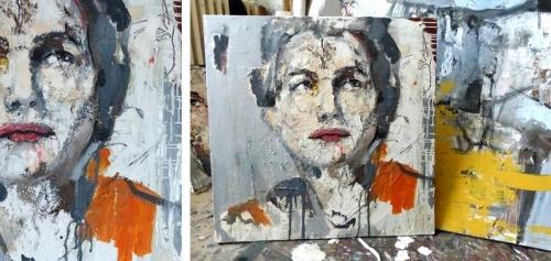 catherine haro, portrait, technique mixte sur toile, peinture au couteau